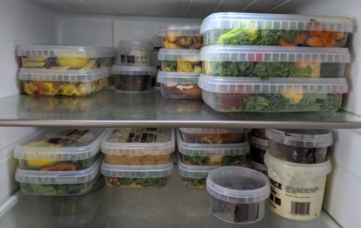 inside fridge view of meal prep delivery